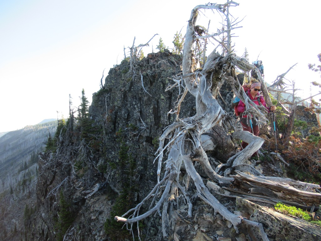 A woman backpacking on a knife edge of a ridge.